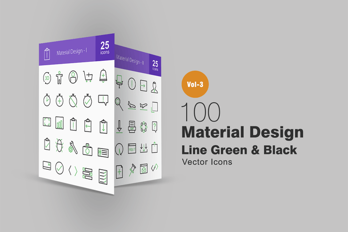 Thumbnail for 100 Material Design Line Green & Black Icons
