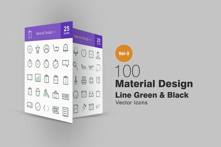 Thumbnail for 100 Material Diseño Line Íconos Verde y Negro
