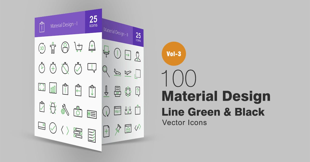 Download 100 Material Design Line Green & Black Icons by IconBunny