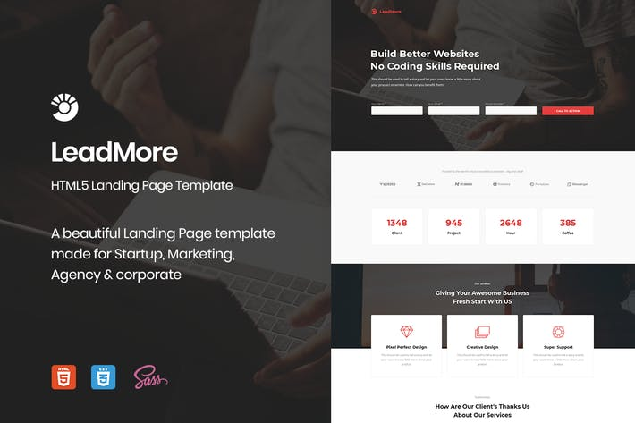 Cover Image For LeadMore - HTML5 Landing Page
