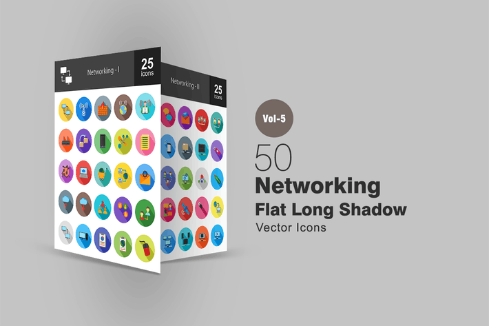 Thumbnail for 50 Íconos sombreados planos de redes