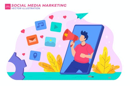 Ilustración plana de marketing en redes sociales