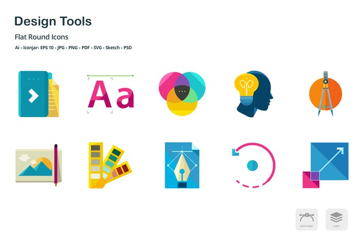Thumbnail for Design Tools Flat Colored Icons