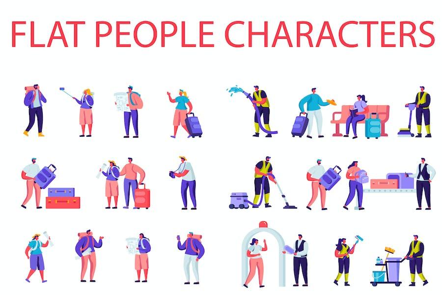Flat Cartoon People Characters