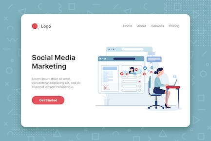 Social media marketing concept with characters.
