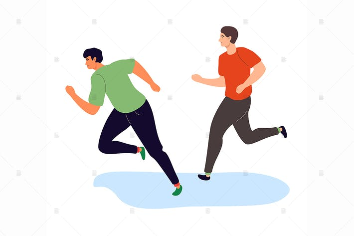 Thumbnail for Boys running - flat design style illustration