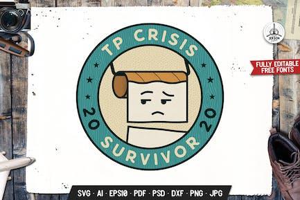 TP Crisis 2020 Survivor Retro Vector Badge Emblem