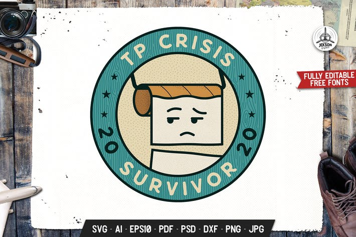 Thumbnail for TP Crisis 2020 Survivor Retro Vector Badge Emblem