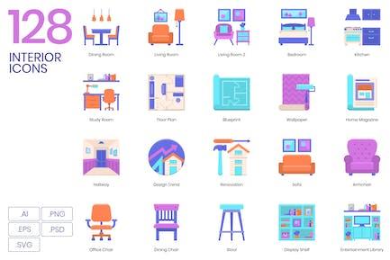 128 Interior Flat Icons