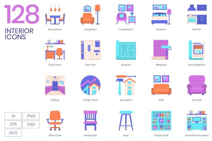 Thumbnail for 128 Interior Flat Icons