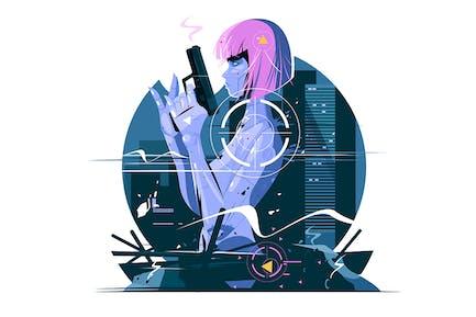 Killer-Frau mit Pistole