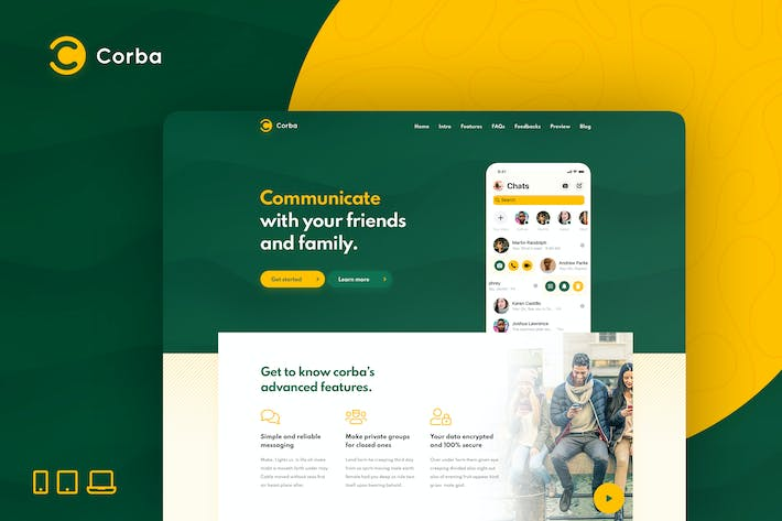 Thumbnail for Corba – App Landing Page HTML Template