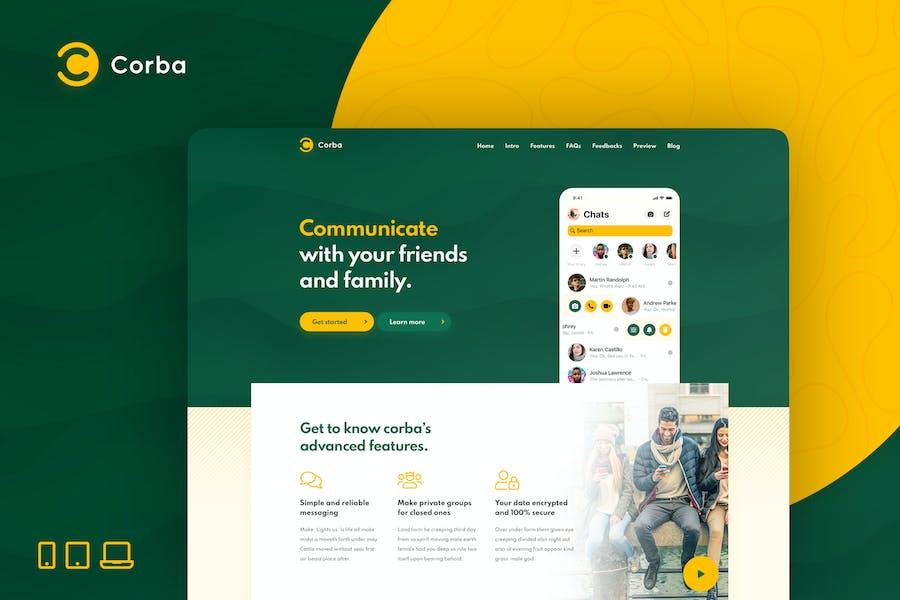 Corba — HTML-Vorlage für App Zielseite