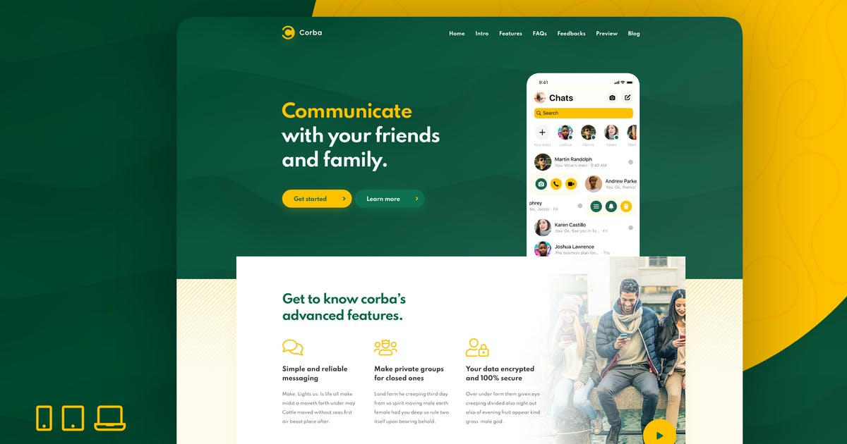 Download Corba – App Landing Page HTML Template by GfxPartner