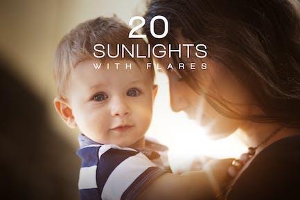 20 Sonnenlichter mit Flares