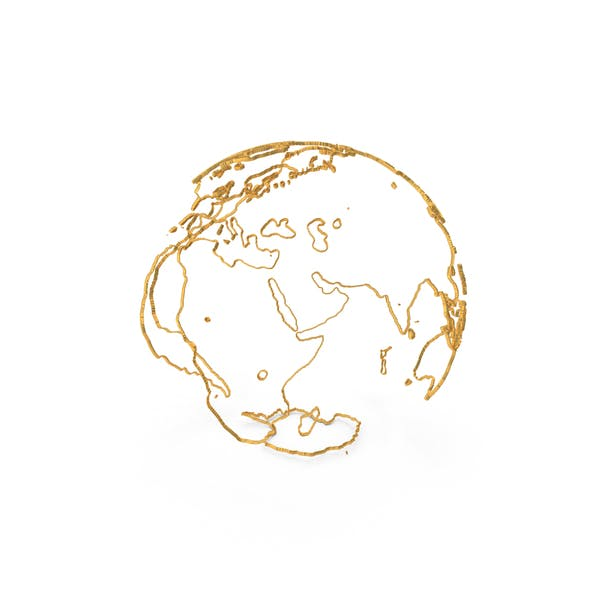 Earth Contours of Continents Made of Gold Wire