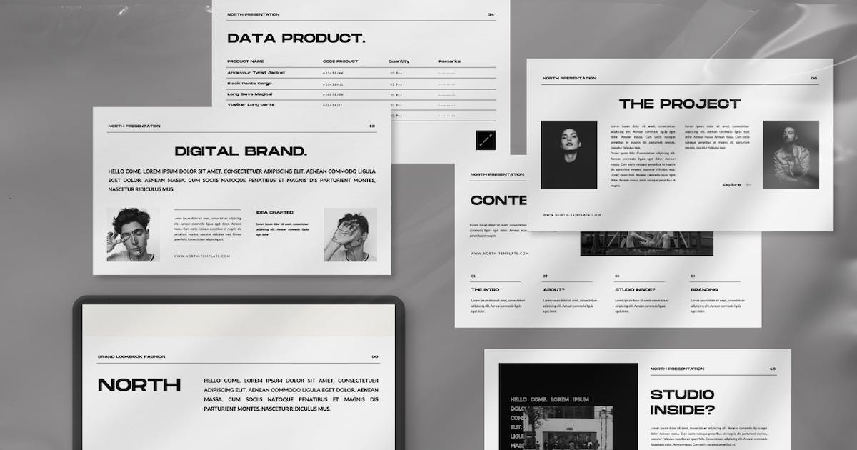 Download North Brand Fasihon Lookbook Powerpoint by templatehere