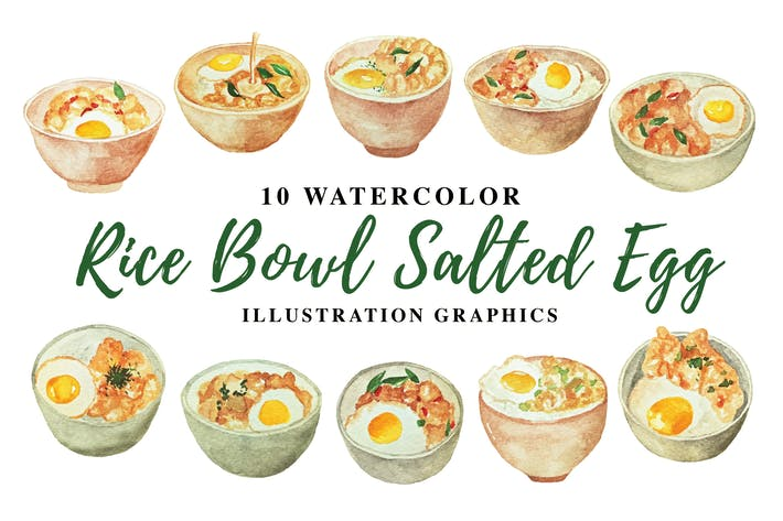 Thumbnail for 10 Watercolor Rice Bowl Salted Egg Illustration