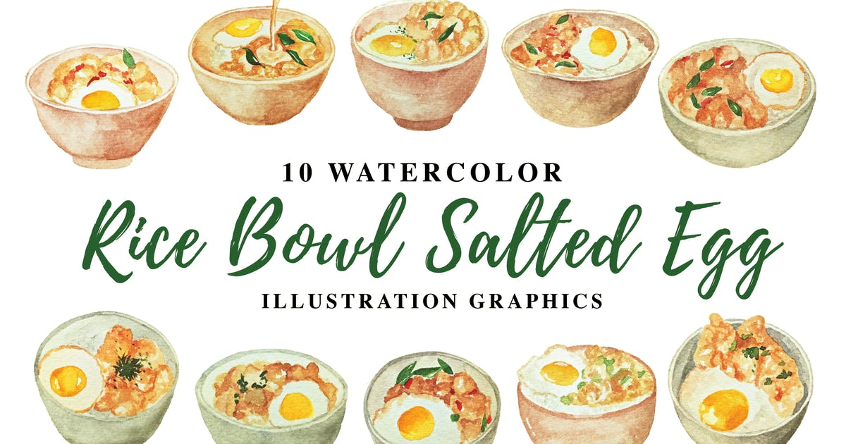 Download 10 Watercolor Rice Bowl Salted Egg Illustration by IanMikraz