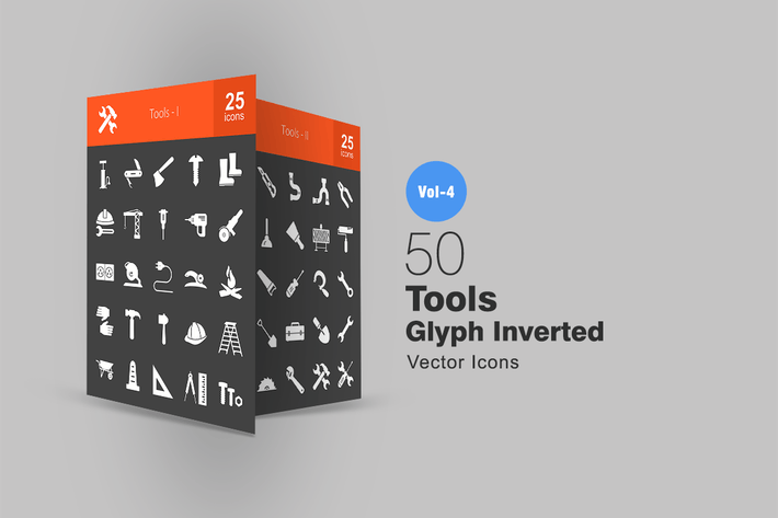 50 Tools Glyph Inverted Icons