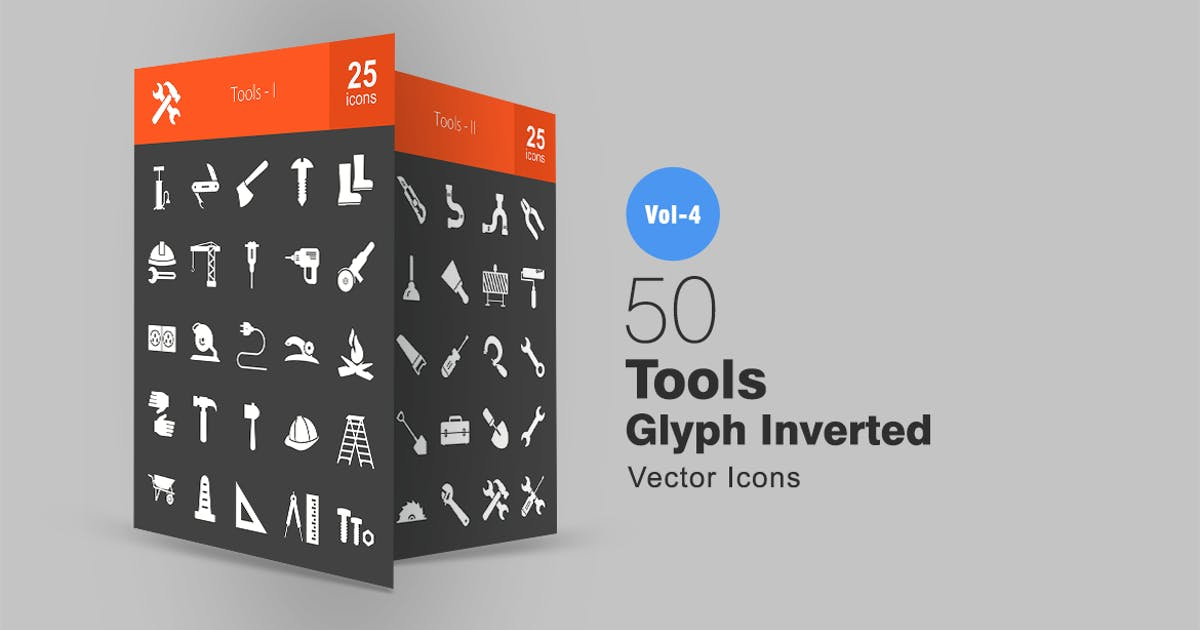 Download 50 Tools Glyph Inverted Icons by IconBunny