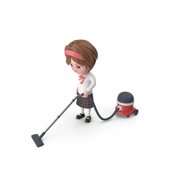 Thumbnail for Cartoon Girl Meghan Vacuuming