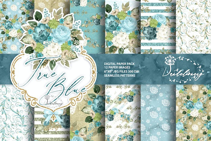 Thumbnail for Watercolor True Blue digital paper pack