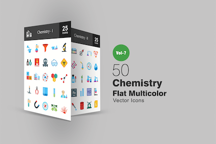 50 Chemistry Flat Multicolor Icons
