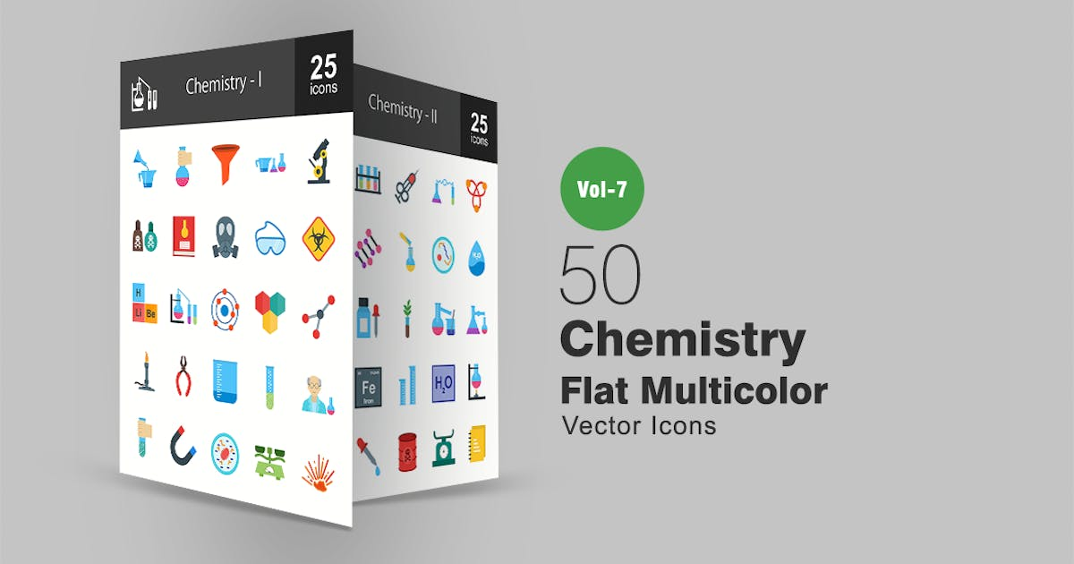 Download 50 Chemistry Flat Multicolor Icons by IconBunny
