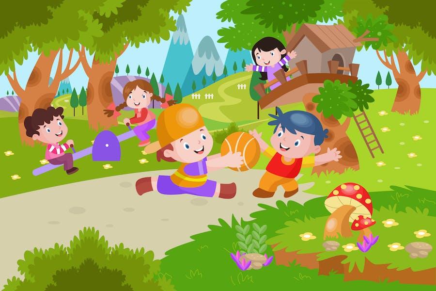 Kids Jugando en el Playground - Ilustración