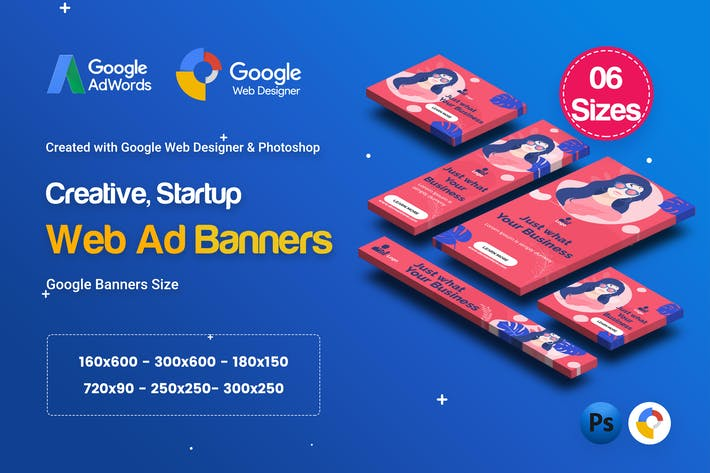 Thumbnail for C62 - Creative, Startup HTML5 Ad - GWD & PSD