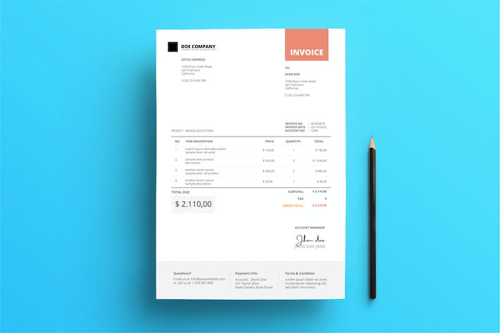 Thumbnail for Invoice Business with Red Square on Top