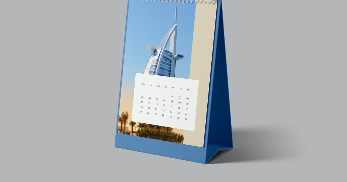 Download Portrait Desk Calendar Mockup by artimasa_studio