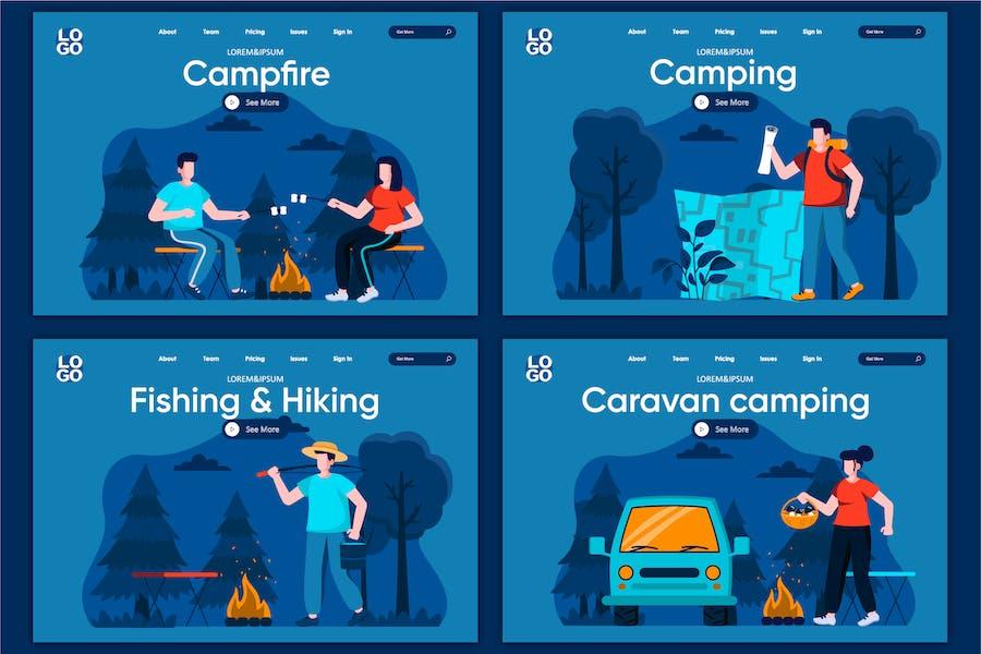 Caravan Camping Flat Concept Modèle de page d'atterrissage