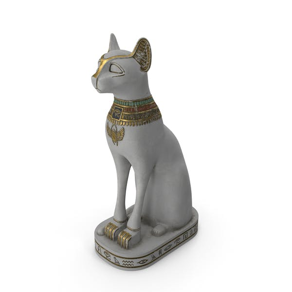 Ancient Egyptian Cat Statue White