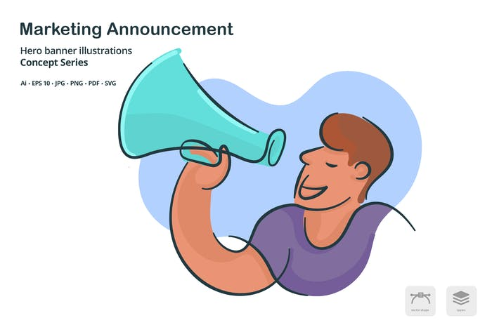 Thumbnail for Announcement Marketing Vector Illustration