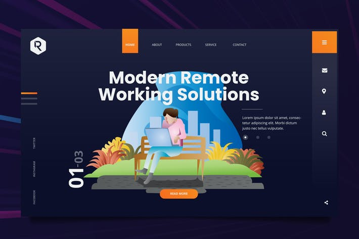Thumbnail for Remote Technology Web Header PSD & Vector Template