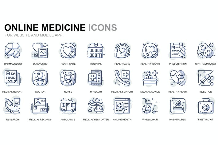 Thumbnail for Íconos de línea delgada para el cuidado de la salud y la Medicina