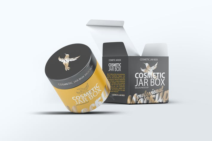 Cover Image For Cosmetic Jar & Box Mock-up