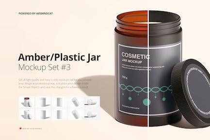 Amber / Plastic Jar Mockup Set 3