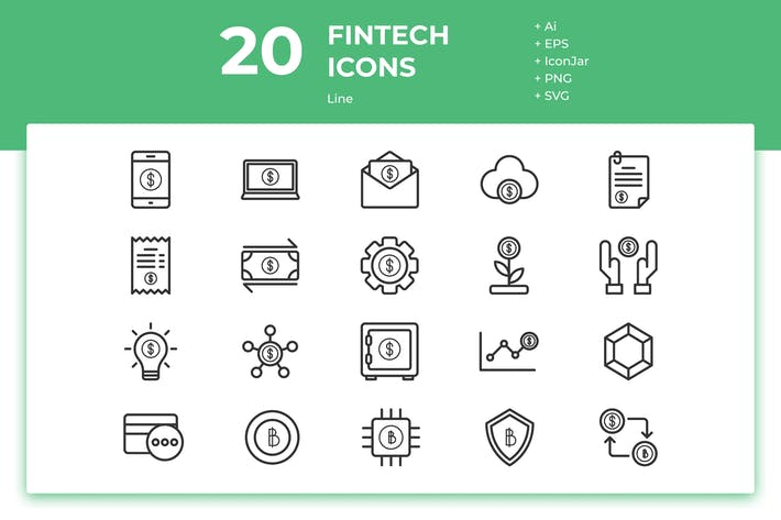 Thumbnail for 20 Fintech Icons (Line)