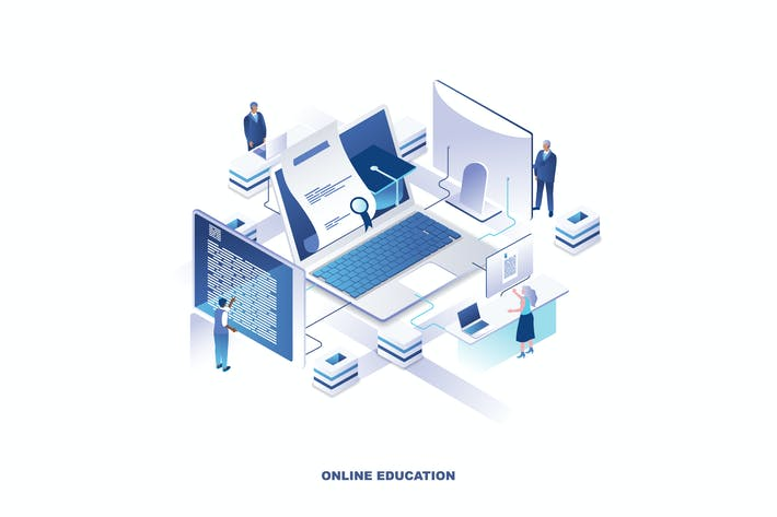 Thumbnail for Online Education Isometric Banner Flat Concept