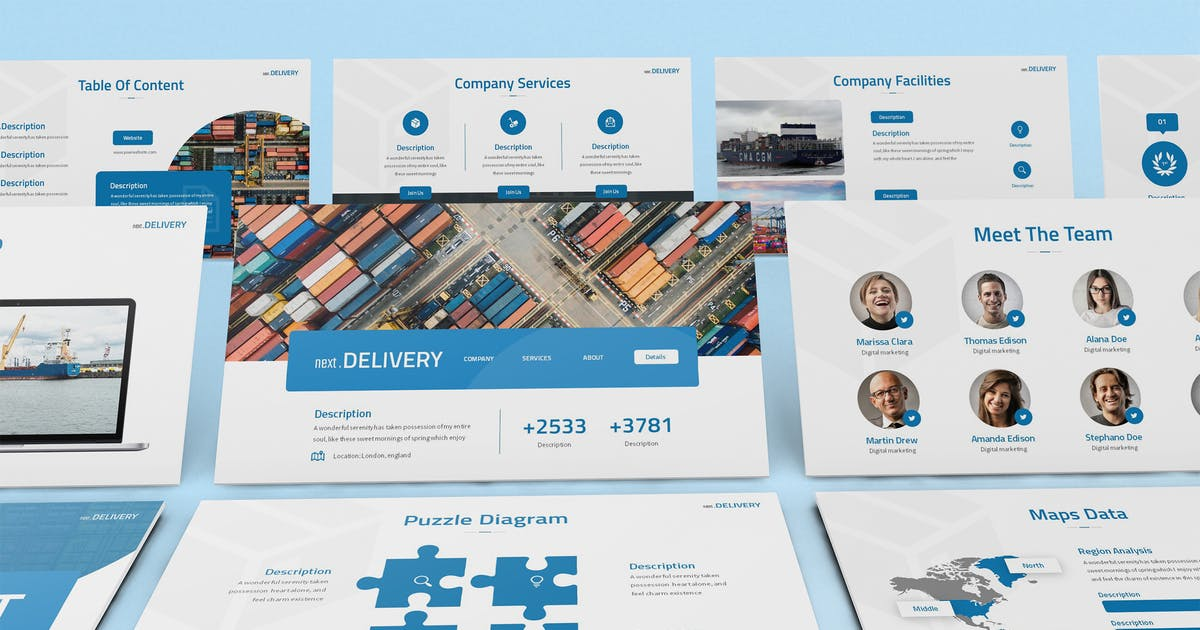 Download NextDelivery - Logistics Keynote Template by SlideFactory