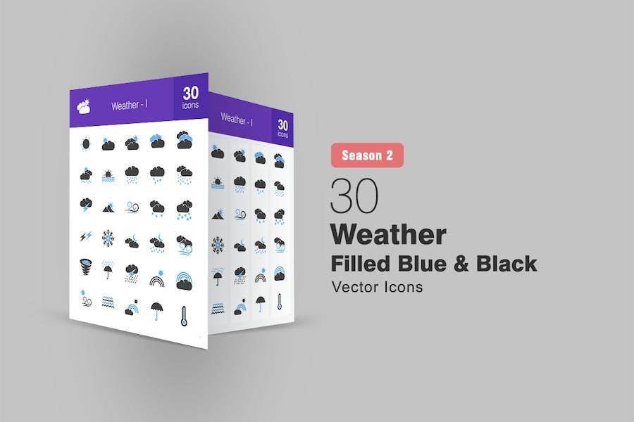 30 Wetter gefüllte blaue & schwarze Icons