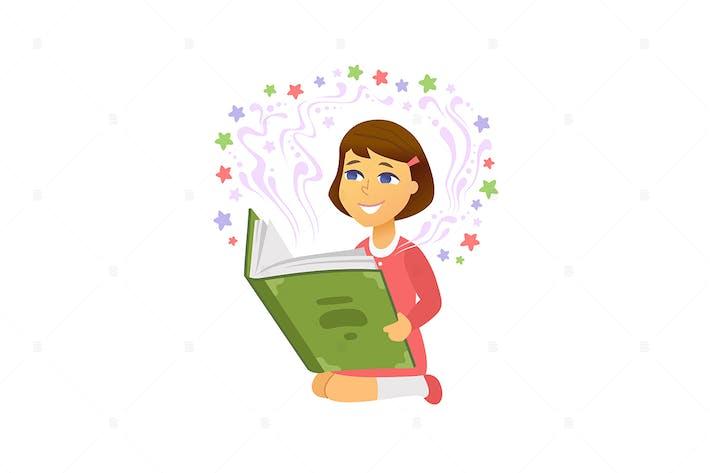 Thumbnail for Lectura de chicas - ilustración Vector