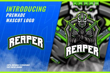 Creepy Shooter Monster - Mascot Esport Logo Templa
