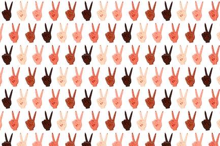 Female Peace Hand Pattern