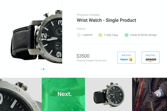 Thumbnail for Wrist Watch Single Product eCommerce PSD Template