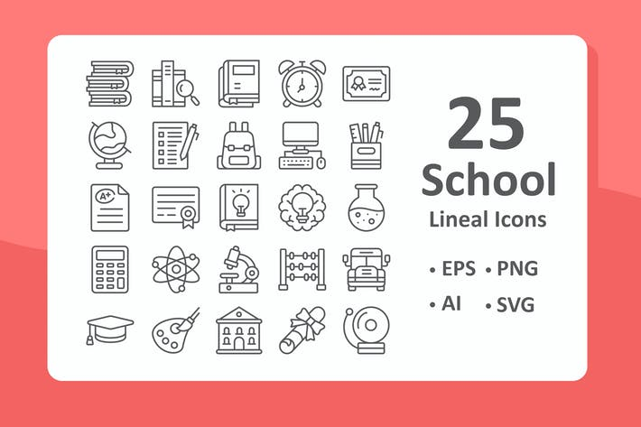 Thumbnail for 25 School Icons - Lineal