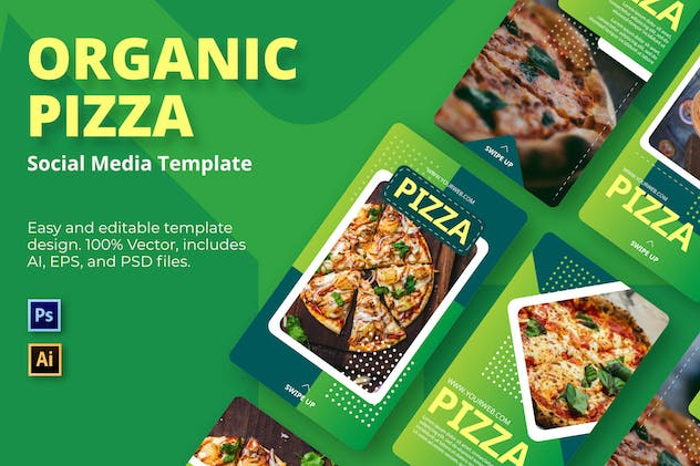 Pizza Organic Social Media Template - product preview 0